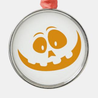 De glimlachende Pompoen van Halloween van de Zilverkleurig Rond Ornament