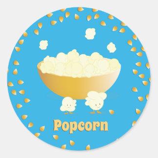 De glimlachende Popcorn en werpt de Sticker van |
