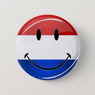 De glimlachende Vlag van Holland Nederland Ronde Button 5,7 Cm