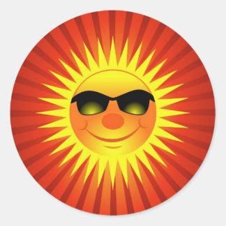 De glimlachende Zon van de Zomer Ronde Sticker