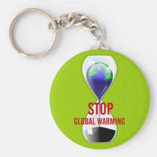 De Globale Verwarmende Zandloper Keychain van het  Basic Ronde Button Sleutelhanger