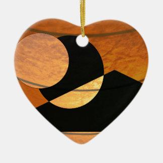 De Gloed van planeten, Zwarte en Koper, Grafisch Keramisch Hart Ornament