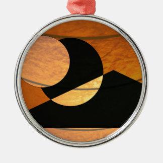 De Gloed van planeten, Zwarte en Koper, Grafisch Zilverkleurig Rond Ornament