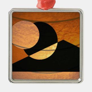 De Gloed van planeten, Zwarte en Koper, Grafisch Zilverkleurig Vierkant Ornament