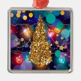 De gloeiende Gouden Boom van Bokeh van de Lichten Zilverkleurig Vierkant Ornament