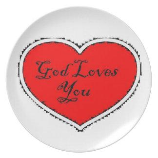 De god houdt van u plateert bord