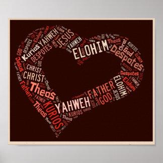 De god is het Poster van de Liefde