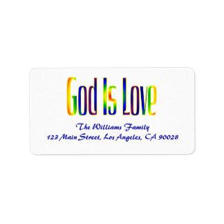 De god is Liefde Etiket