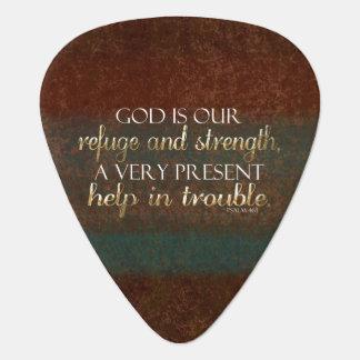De god is ons Bruin Vers van de Bijbel van het Gitaar Plectrum 0