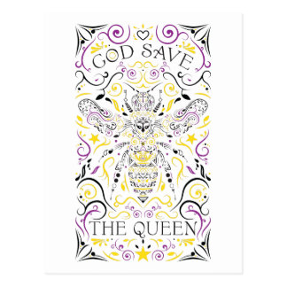 de god redt de koningin briefkaart