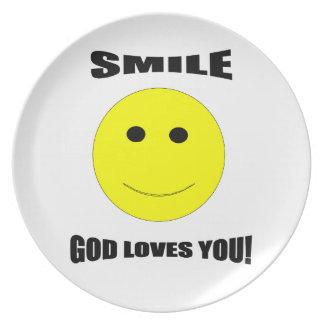 De God van de glimlach houdt van u plateert Bord