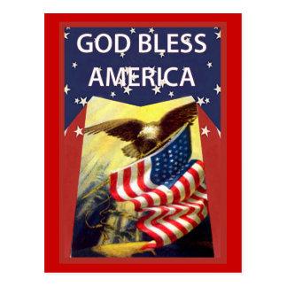 De god zegent Amerika, vlag en kale adelaar Briefkaart