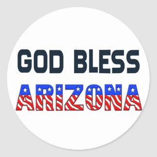 De god zegent Arizona Ronde Sticker