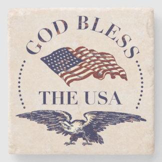 De god zegent de V.S. - Vlag en de Wijnoogst van Stenen Onderzetter
