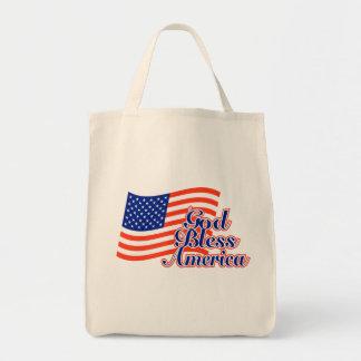 De god zegent het Canvas tas van Amerika