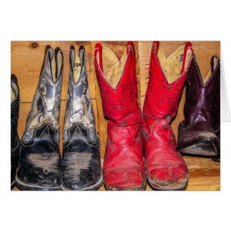 De goed Versleten Laarzen van de Cowboy Briefkaarten 0