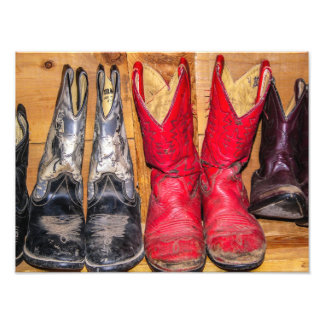 De goed Versleten Laarzen van de Cowboy - Fotoprints