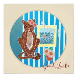 De goede Vierkante Kaart van het Geluk met de Kat