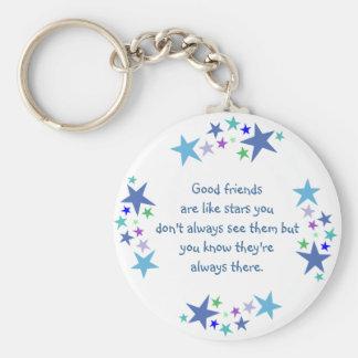 De goede vrienden zijn als het Citaat van de Basic Ronde Button Sleutelhanger