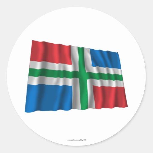 De Golvende Vlag van Groningen Ronde Sticker