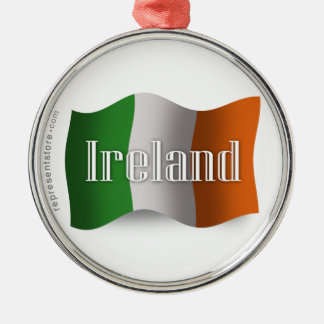 De Golvende Vlag van Ierland Zilverkleurig Rond Ornament