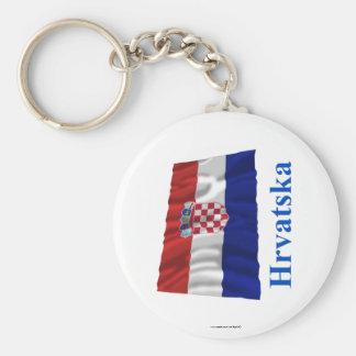 De Golvende Vlag van Kroatië met Naam in Kroatisch Basic Ronde Button Sleutelhanger