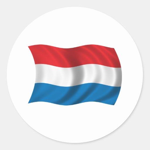 De golvende Vlag van Nederland Ronde Stickers