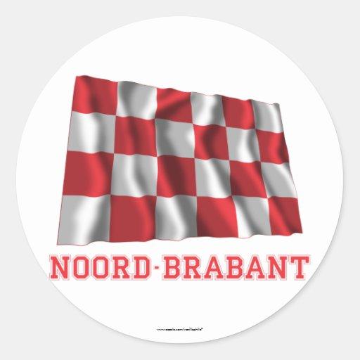 De Golvende Vlag van Noord-Brabant met Naam Ronde Stickers
