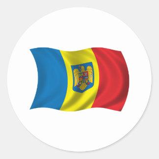 De golvende Vlag van Roemenië Ronde Sticker