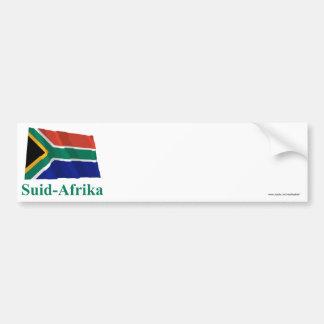 De Golvende Vlag van Zuid-Afrika met Naam in Bumpersticker