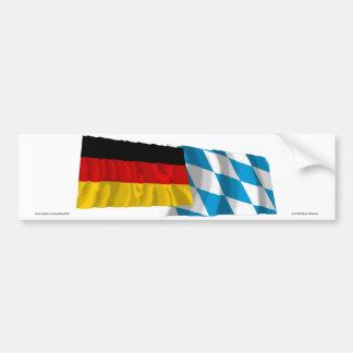 De Golvende Vlaggen van Duitsland & van Beieren Bumpersticker