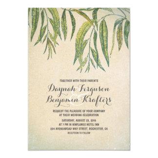 De gomboom verlaat elegant vintage huwelijk 12,7x17,8 uitnodiging kaart