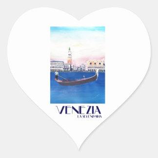 De Gondel van Venetië Italië op Groot Kanaal met Hart Sticker