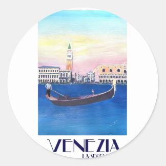 De Gondel van Venetië Italië op Groot Kanaal met Ronde Sticker