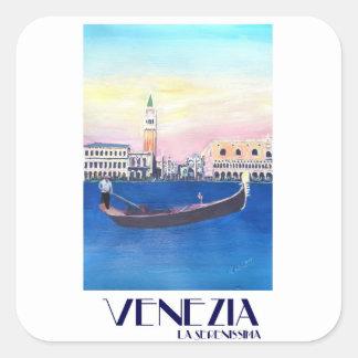 De Gondel van Venetië Italië op Groot Kanaal met Vierkante Sticker