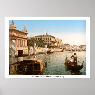 De Gondel van vintage Italië, Venetië bij de Basil Poster
