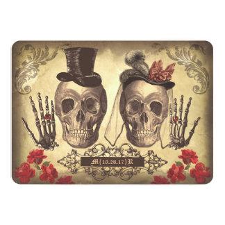 De gotische Dag van het Paar van de Schedel van 12,7x17,8 Uitnodiging Kaart