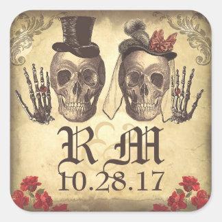 De gotische Dag van het paar van de Schedel van de Vierkante Sticker