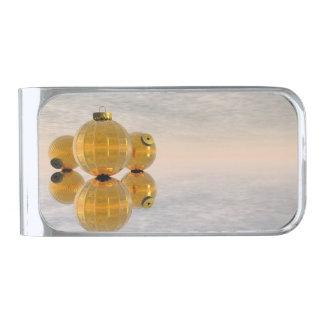 De gouden 3D ballen van Kerstmis - geef terug Verzilverde Geldclip