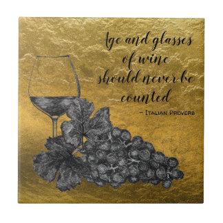 De Gouden Achtergrond van de Druiven van het Glas Keramisch Tegeltje