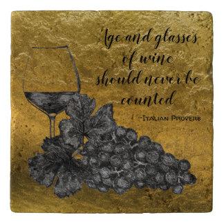 De Gouden Achtergrond van de Druiven van het Glas Trivet
