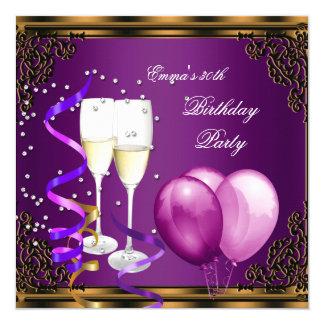 de Gouden Ballons van de 30ste van de Verjaardag 13,3x13,3 Vierkante Uitnodiging Kaart