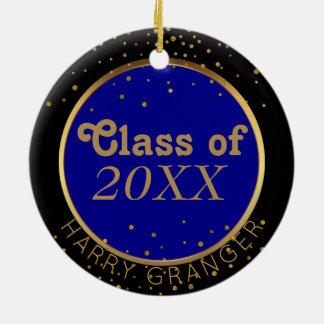 De gouden Blauwe Klasse van het Stip van de Rond Keramisch Ornament
