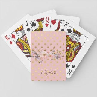 De Gouden Bloemen van Stippen schattige Faux Pokerkaarten