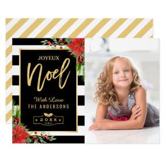 De gouden BloemenFoto van Kerstmis van Joyeux Noel 12,7x17,8 Uitnodiging Kaart
