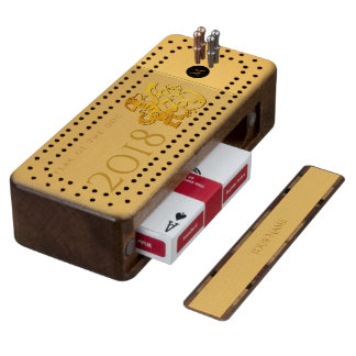 De gouden Chinese Cribbage B van het Monogram van Walnoot Cribbagebord