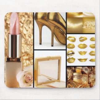 De gouden Collage van de Mode van het Accessoire Muismat