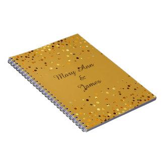 De gouden Confettien schitteren de ambacht van de Notitieboek