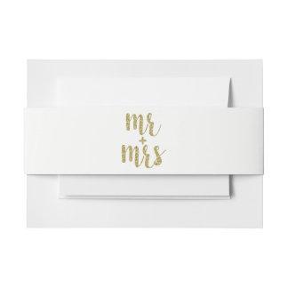 De gouden de uitnodigingsbanden van M. & van Uitnodigingen Wikkel