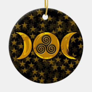 De Gouden Drievoudige Maan van Faux & de Zwarte Rond Keramisch Ornament